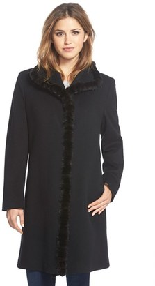 Women's Fleurette Genuine Mink Trim Stand Collar Wool Coat $1,495 thestylecure.com