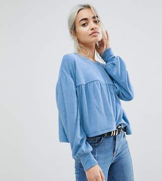 Lost Ink Petite Fluffy Crop Smock Sweatshirt