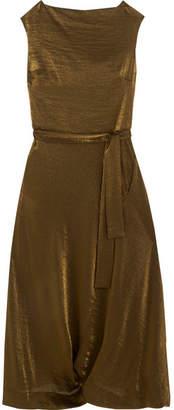 Vivienne Westwood Anglomania - Vasari Draped Metallic Jersey Midi Dress - Gold