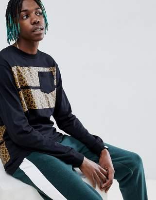 Billionaire Boys Club Leopard Stripe Long Sleeve T-Shirt In Black