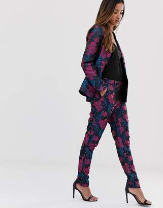MBYM metallic floral jacquard suit trousers
