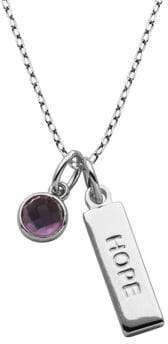 Lord & Taylor Africa Amethyst and Sterling Silver Hope Pendant Necklace
