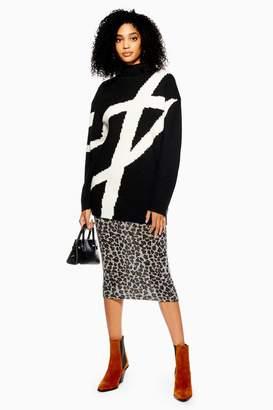 Topshop Leopard Print Midi Skirt