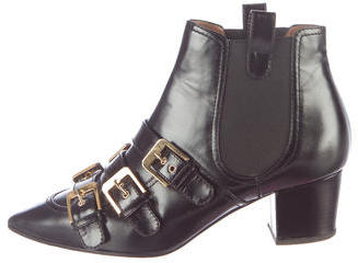 Laurence Dacade Buckle-Accented Leather Ankle Boots $325 thestylecure.com