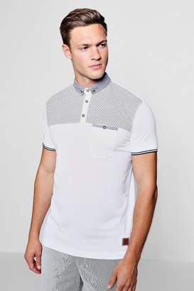 boohoo Contrast Print Polo With Woven Collar