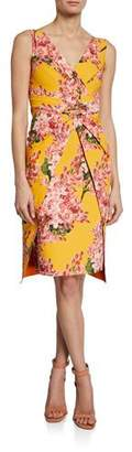 Chiara Boni Floral-Print V-Neck Sleeveless Dress with Overlay Skirt