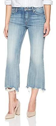 Denim Bloom Women's Mid Rise Raw Hem Crop Flare Jean