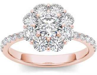 Imperial Diamond Imperial 1-3/4 Carat T.W. Diamond Flower-Shape Cluster 14kt Rose Gold Engagement Ring