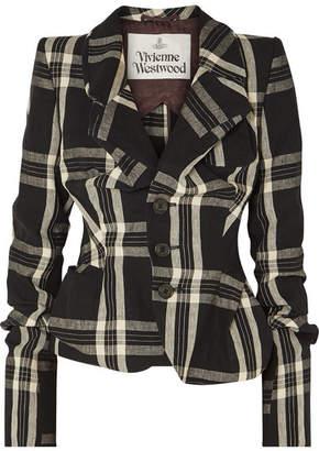 Vivienne Westwood Gathered Tartan Linen Blazer - Black