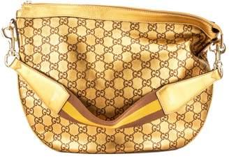 Gucci Gold Guccisima Leather Web Strap Hobo Bag (Pre Owned)