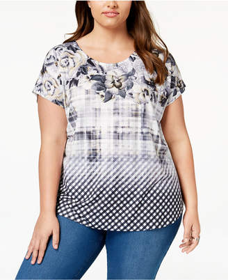 Style&Co. Style & Co Plus Size Mixed-Print Top