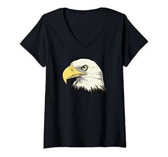 Womens Bald Eagle Head V-Neck T-Shirt