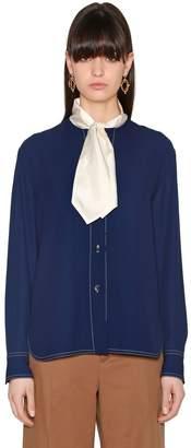 Marni Envers Satin Shirt W/ Crepe Bow Collar