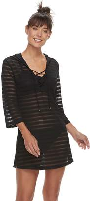 Apt. 9 Women's Burnout Stripe Lace-Up Hooded Cover-Up