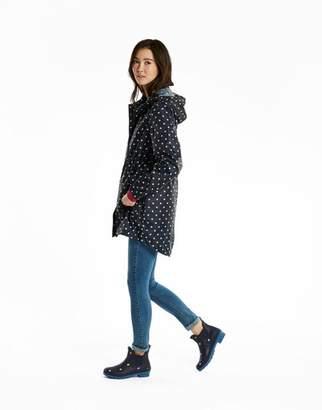 Joules NAVY SPOT Golightly Waterproof Packaway Jacket Size 6