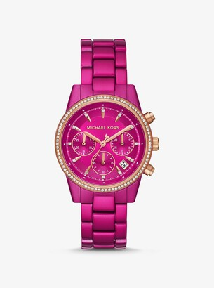 Michael Kors Ritz Pave Pink Coated Watch