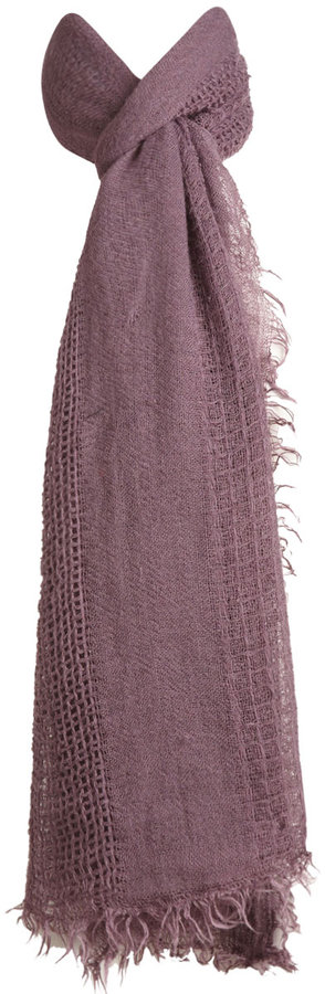 Open Knit Fringe Scarf