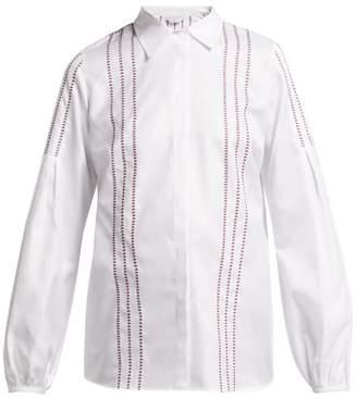 Gabriela Hearst Herringbone Embroidered Cotton Blouse - Womens - White