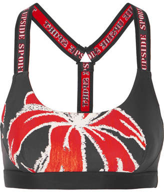 The Upside Alex Floral-print Stretch Sports Bra - Black