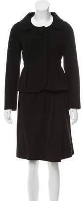 Paule Ka Pointed Collar Knee-Length Skirt Suit