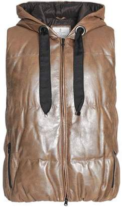 Brunello Cucinelli Quilted Coated-Leather Hooded Down Vest