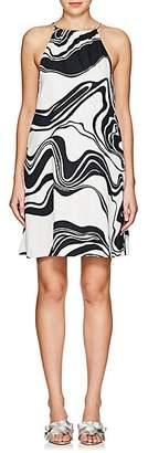 Lisa Perry WOMEN'S SWIRL CREPE HALTER DRESS - BLACK/WHITE SIZE 2