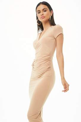 Forever 21 Surplice Shirred Midi Dress