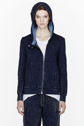 Helmut Lang HELMUT Navy blue acid washed denim hoodie