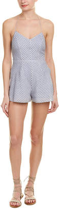 The Jetset Diaries Striped Linen-Blend Romper