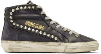 Golden Goose Black Leather Studded Slide Sneakers