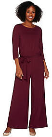Joan Rivers Classics Collection Joan Rivers Petite Length Jersey Knit Jumpsuitw/ 3/4 Sleeves