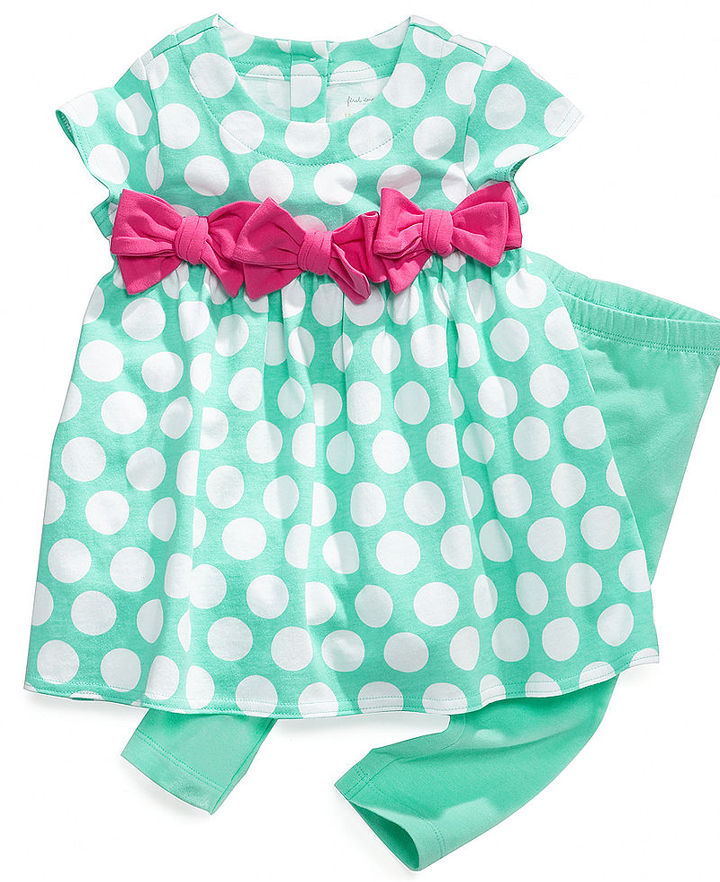 First Impressions Baby Set, Baby Girls 2-Piece Dot Dress and Leggings Playwear