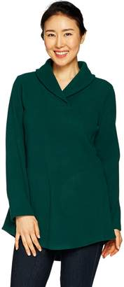 Denim & Co. Petite Shawl Collar Long Sleeve Fleece Tunic