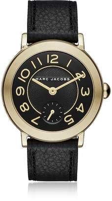Marc Jacobs Riley Gold Tone and Black Leather Women's Watch