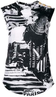 Balmain newspaper print blouse