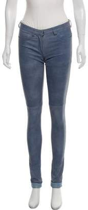 Prada Leather Mid-Rise Pants
