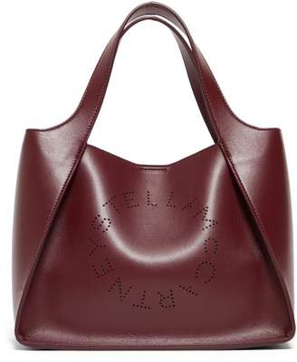 Stella McCartney Stella Perforated Logo Faux Leather Tote Bag - Womens - Burgundy