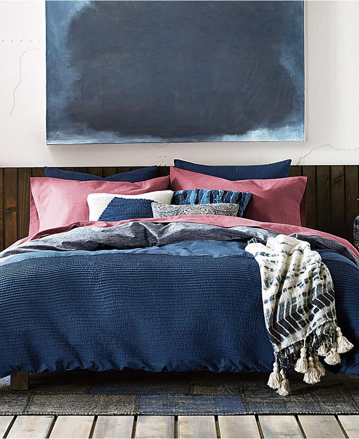 Tommy  Blues Vintage Pleated Cotton 2-Pc. Reversible Twin Duvet Cover Set Bedding