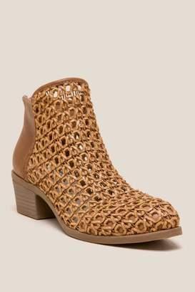 Dolce Vita Koda Basket Weave Ankle Boot - Cognac