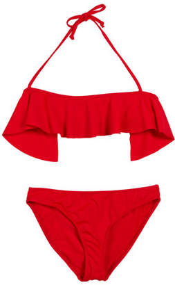 Milly Minis Ruffle Top Two-Piece Swimsuit, Size 4-6