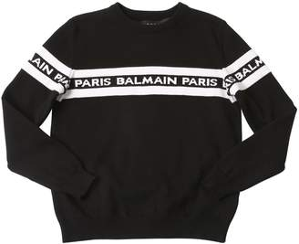 Balmain Logo Cotton Jacquard Knit Sweater