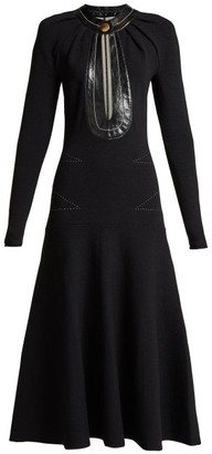 Proenza Schouler Keyhole Leather Trimmed Stretch Knit Dress - Womens - Black