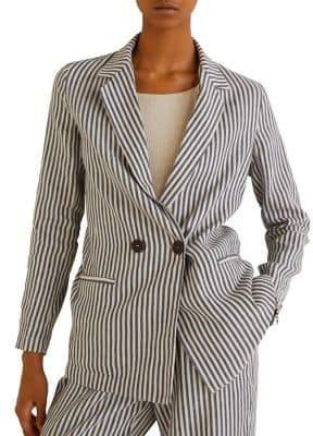 MANGO Striped Unstructured Blazer