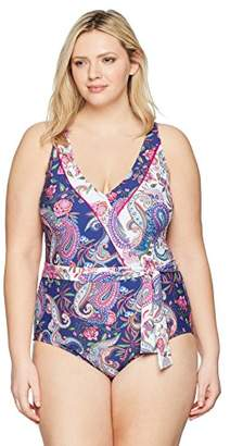 LaBlanca La Blanca Women's Plus Size V-Front Robe Tie One Piece Swimsuit