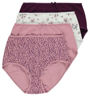 George Pink Floral Print Full Briefs 4 Pack
