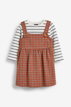 Next Girls Rust Pinafore And Top Set (3mths-7yrs) - Red