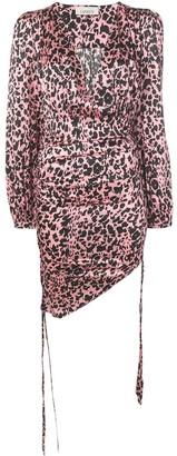 Laneus leopard print gathered mini dress