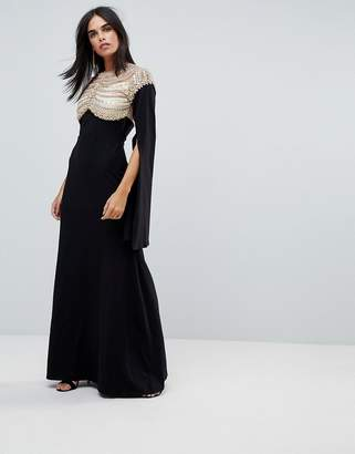 A Star Is Born Cape Sleeved Jersey Maxi Dress With Embellished And Mesh Top