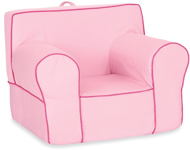 Pottery Barn Kids Pink with Bright Pink Piping Oversized Anywhere Chair