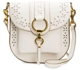 Frye Ilana White Perforated Leather Saddle Bag